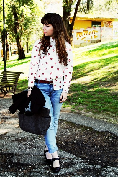 white lips AHAISHOPPING blouse - teal Lanidor jeans - black Mango blazer