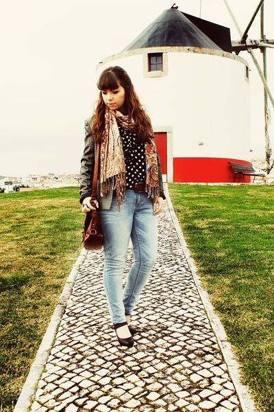 light blue Lanidor jeans - gray elbow patches Sheinside blazer