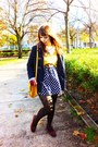 Navy-primark-coat-blue-daisy-obambi-dress-yellow-bershka-sweater