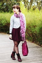 silver romwe sweater - magenta Primark boots - maroon print natura scarf