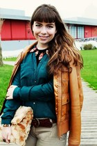 burnt orange Bershka jacket - camel fur Pinkoholic bag