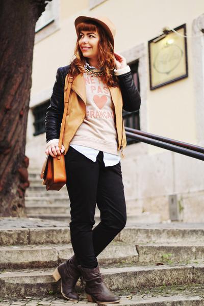 burnt orange Parfois bag - dark brown Spartoo boots - camel Front Row Shop hat