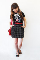 black Zara t-shirt - black check romwe dress - red romwe bag