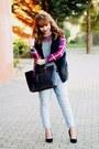 Periwinkle-tartan-banggood-shirt-dark-gray-mango-bag