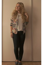 flowered Zara jacket - studded Zara loafers