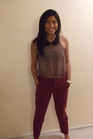 black boots - brick red Target pants - black Forever 21 bra