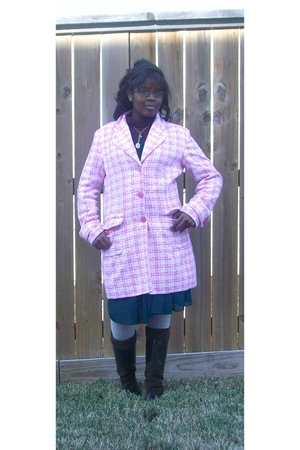 pink walmart jacket - green Charlotte Russe dress - brown Forever 21 boots - whi
