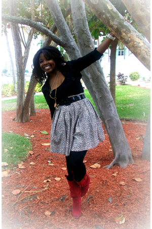 black Rue 21 blazer - black Rue 21 top - beige I made it skirt - red Wet Seal sh