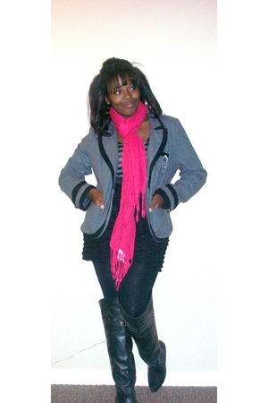pink rue21 scarf - black Wet Seal boots - Rue 21 dress - gray Rue 21 jacket