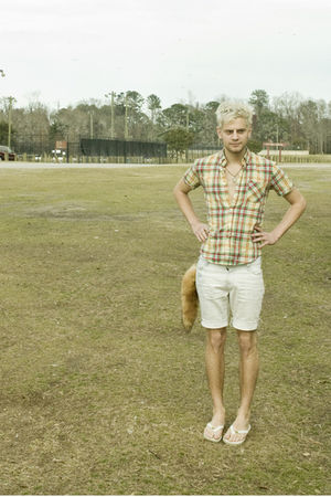yellow zipia shirt - white Urban Outfitters shorts - brown zipia accessories - w