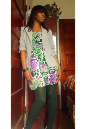 green dress - gray blazer - beige Jessica Simpson shoes - green stockings - silv