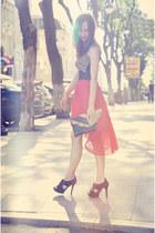 red Mango skirt - black Mango sandals