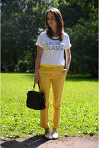 yellow Zara pants - white Zara t-shirt
