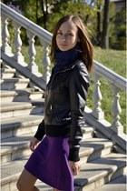 leather New Yorker jacket - purple Mango dress