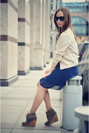 blue uttam london dress - light brown Bershka wedges