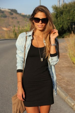 chambray blouse - lbd dress
