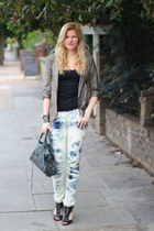 Levis jeans - River Island blazer - balenciaga bag - All Saints heels