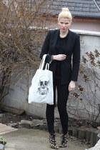 leopard print Emilio Pucci boots - Zara leggings - Zara blazer - Gate jumper