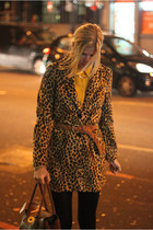 leoapard print Mango coat - mustard new look shirt - tawny Mulberry bag