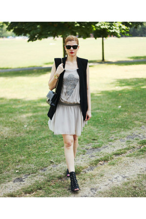 Zara vest - Zara dress - Chanel bag