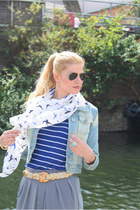 Pink Soda scarf - River Island jacket - Globe ring - vintage belt