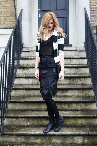 Zara skirt - sam edelman boots - H&M blazer