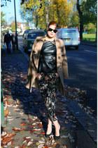 Zara top - Oasis coat - Zara pants - preen wedges