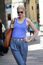 Ray Ban sunglasses - heather gray new look pants - vintage belt