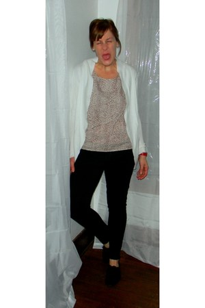 black Target shoes - white Target cardigan - black skinny Gap pants - tan spotte