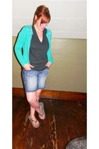 green Gap cardigan - gray American Apparel t-shirt - blue Old Navy shorts - gray
