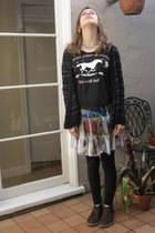 brown Clarks shoes - black HUE leggings - white Nordstrom skirt