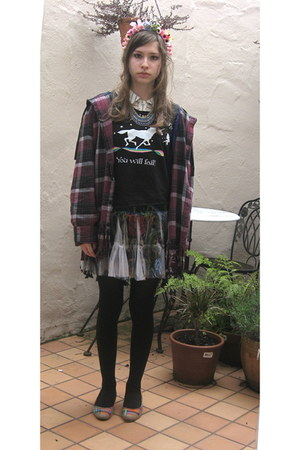 unknown blouse - flannel unknown coat - Hot Topic shirt - Nordstrom skirt