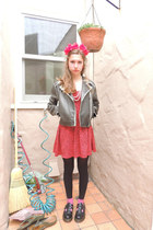 black vintage jacket - black Doc Marten shoes - red Edge dress - red DIY hat