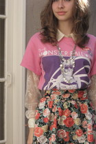 rubi shoes - Lady Gaga concert shirt - floral H&M skirt - lace thrited blouse