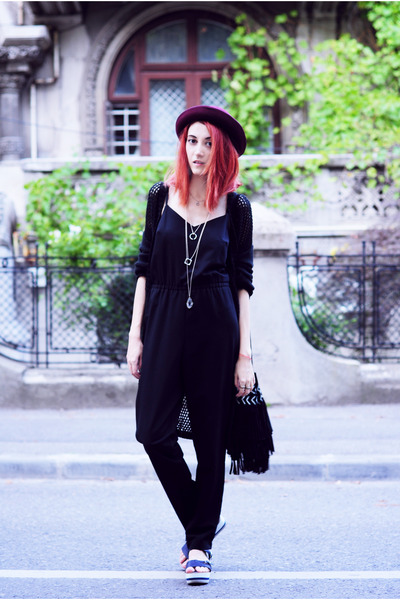 black Topshop romper - maroon new look hat
