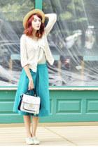 turquoise blue asos skirt - handmade cardigan