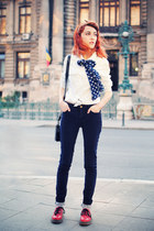 sky blue denim shirt H&M shirt - navy Zara pants