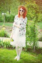 white asos dress - H&M hat - thrifted vintage cardigan - cream Topshop flats