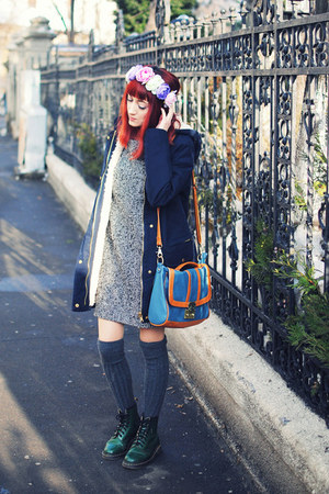 forest green Dr Martens boots - charcoal gray asos dress - navy Zara coat