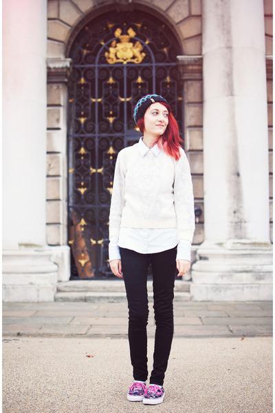 black Zara jeans - Billabong hat - cream River Island sweater
