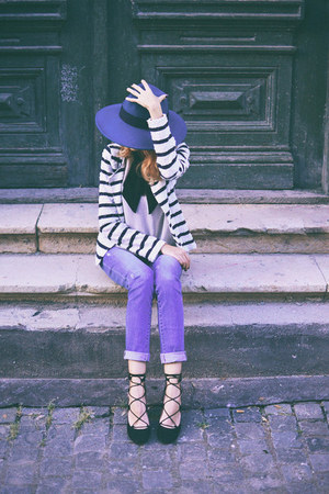 blue asos hat - black Zara heels