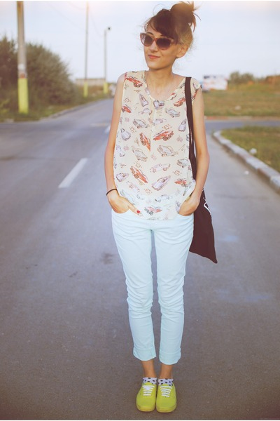 Car Print Primark Tops Light Blue New Look Jeans Yellow Vans Sneakers | U0026quot;Car Printu0026quot; By ...