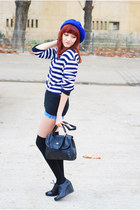 blue self-made shorts - black vintage bag - black asos wedges