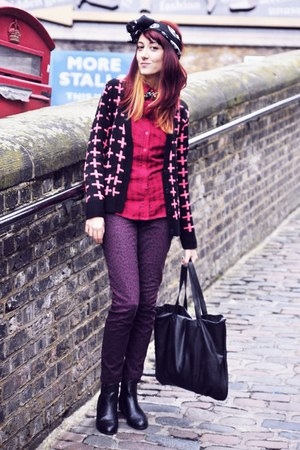 hot pink Primark cardigan - maroon leopard print H&amp;M jeans