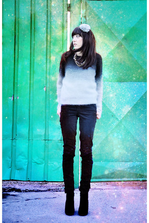 silver H&M sweater - black pieces boots - black Cheap Monday jeans