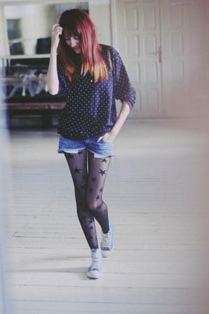 black star print new look tights - navy thrifted vintage jumper