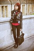 black Lee Cooper jeans - black Zara jacket - black Primark bag