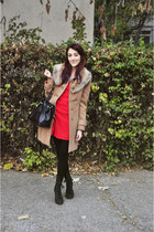 tan Koton jacket - Bakers boots - red Atmosphere dress