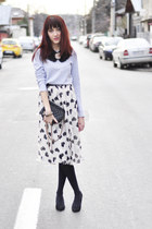 asos necklace - Zara sweater - heart print asos skirt