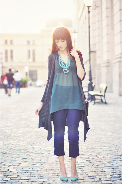 teal Vero Moda blouse - navy lace asos pants - aquamarine H&M pumps